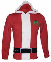 NEW MENS AMERICAN RAG HOLIDAY SANTA CLAUS RED HOODED SWEATSHIRT HOODIE S - $20.99
