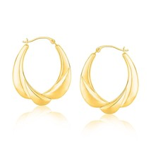 14k Yellow Gold Womens & Girls Cute Scallop Motif Oval Hoop Fashion Earrings - $130.86