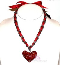 Silver Chain Bow Girls Womens Crystal Red Ribbon Heart Valentine Love Necklace - $29.50