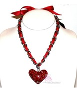 Silver Chain Bow Girls Womens Crystal Red Ribbon Heart Valentine Love Ne... - $29.50