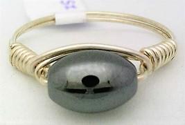 Hematite Oval Gemstone Bead Wire Wrap Ring - $10.08