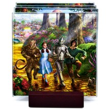 Thomas Kinkade The Wizard of Oz Prints 4 Piece Fused Glass Coaster Set w Holder image 2