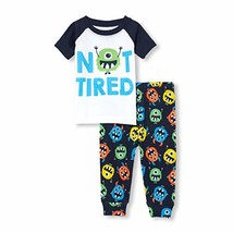 The Children's Place Baby Boys Novelty Printed Pants Pajama Set, White 3-6MONTHS - $15.97