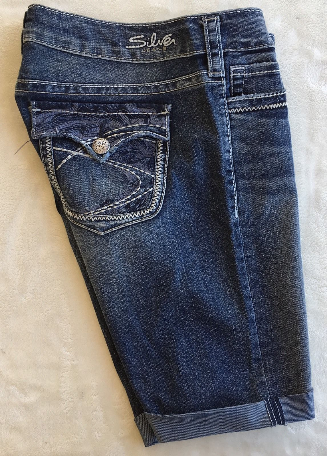 SILVER Jeans Sale Low Rise Pioneer Flap Pocket Denim Stretch Jean Mid Shorts 27
