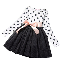 Dotted Long Sleeves Girl Casual School Dot Tutu Dress Kids Girl Party - $20.49
