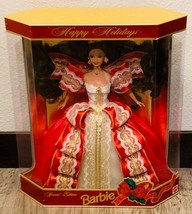 Happy Holidays Barbie 1997 Red and White Gown Girl Doll - $41.58