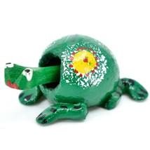 Handmade Oaxaca Copal Wood Carving Folk Art Spotted Frog Bobble Head Figurine image 2