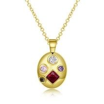 Four Stone Swarovski Pendant Necklace in 14K Gold - $19.80