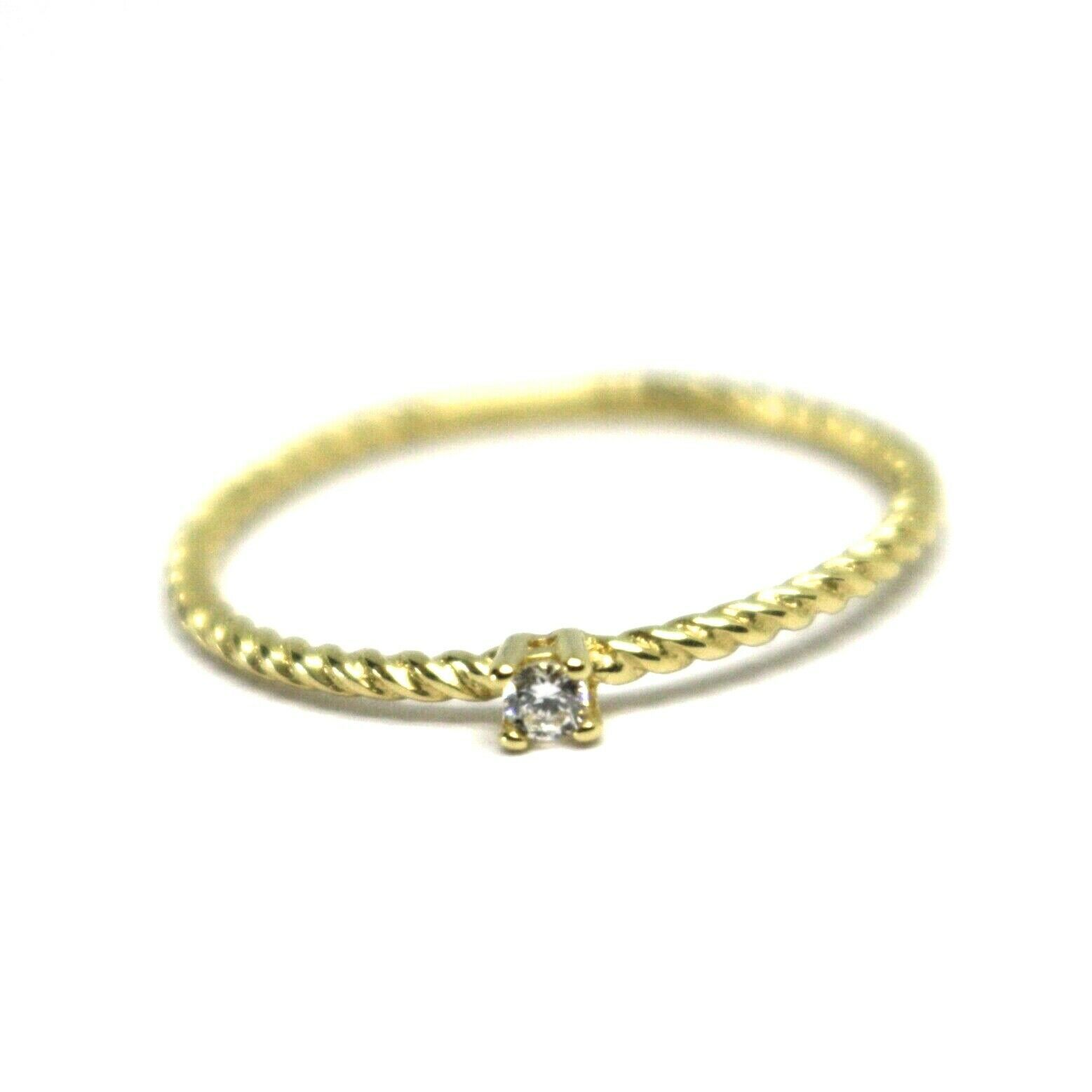SOLID 18K YELLOW GOLD RING, MINI SOLITAIRE CUBIC ZIRCONIA WIRE ROUND BRAID TUBE