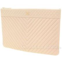 CHANEL Chevron Light Beige Soft Caviar Leather Clutch Bag Authentic 4844693 - $1,240.18