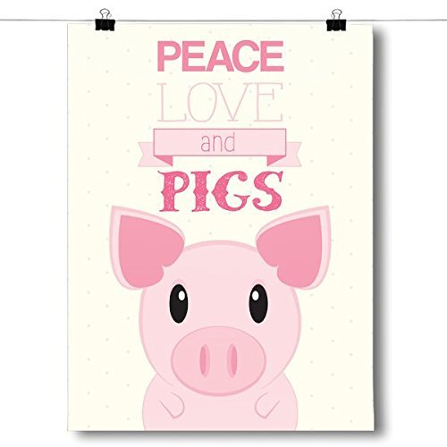 Primary image for Inspired PostersPeace, Love, Pigs Poster Size 8x10
