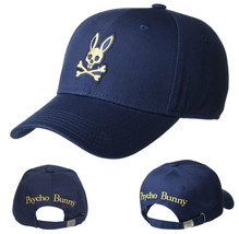 Psycho Bunny Men's Embroidered Strapback Hat Sports Cotton Twill Baseball Cap