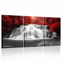 Kreative Arts Black White and Red Canvas Wall Art 3 Pieces Red Woods Waterfall C