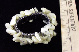 Vintage Silver Tone Stretch Bracelet Adorned With Assorted Ivory Colored... - $9.89