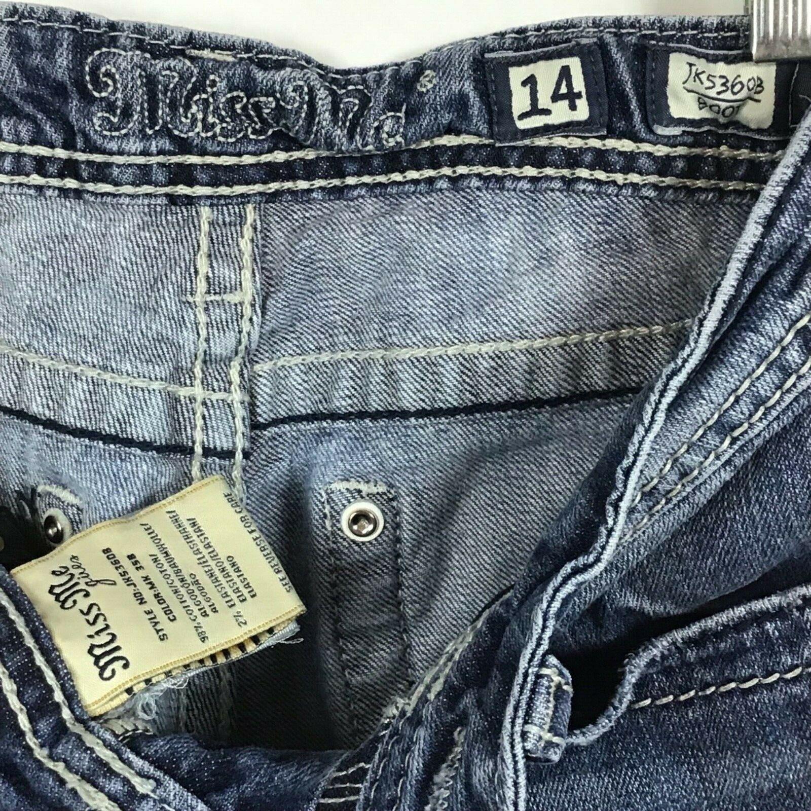 Miss Me Jeans Girls Size 14 Jeans Fleur De Lis BLING Bootcut Distressed B6-9 image 6