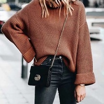 New ginger knitted long sleeves round neck thick women sweater knit pull... - $42.00