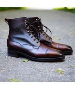 New Handmade brown leather ankle boots for men, men leather boot in brow... - $159.99+