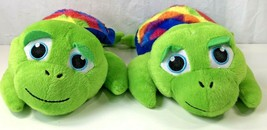 2 Sea Turtle Plush Stuffed Animals Striped Rainbow Peek A Boo Toys Twin ... - $16.82