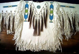 Mens New Native American Buckskin White Lambskin Leather Beads War Shirt NA24 image 1