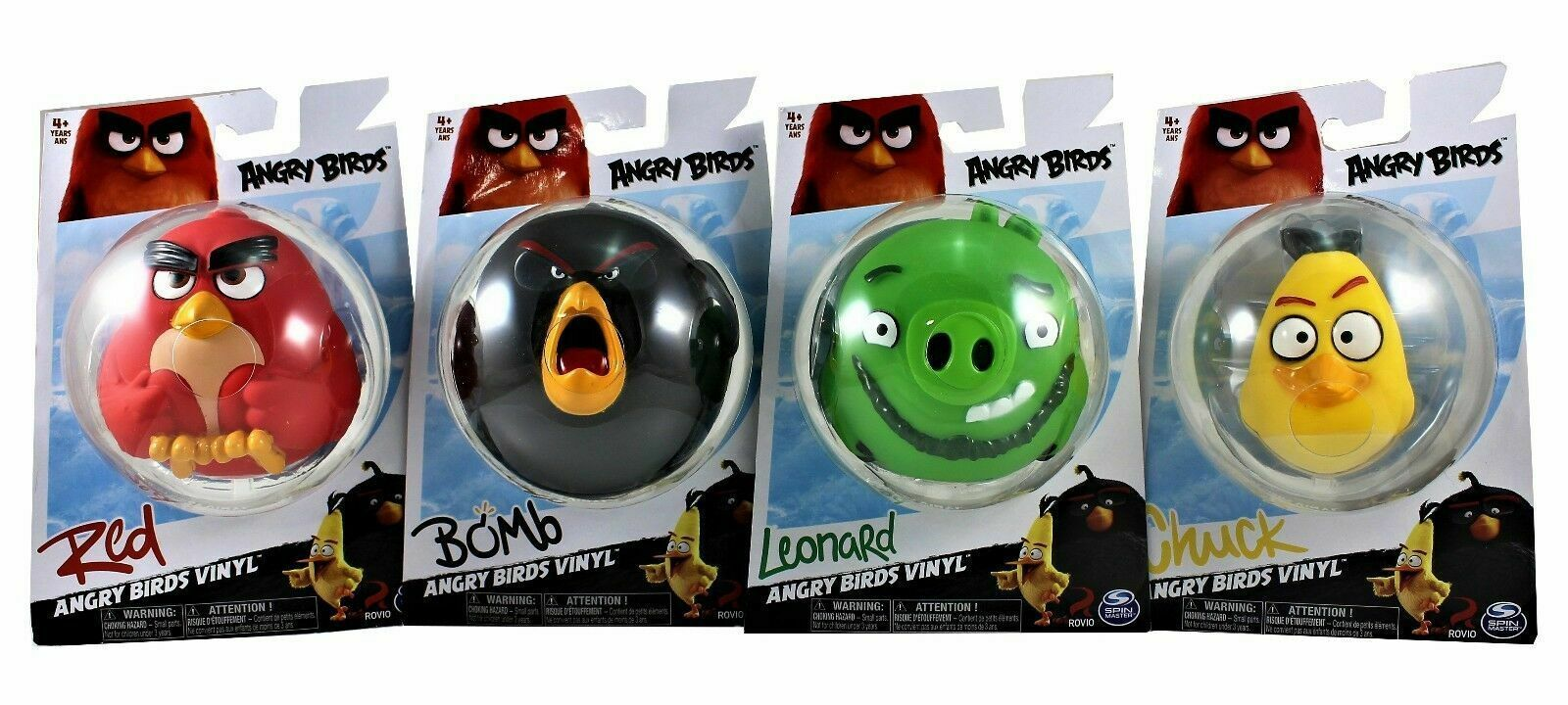 Angry Birds Vinyl Figures Lot of 4 Leonard, Chuck, Bomb and Red New Collectible