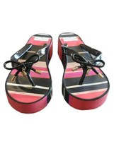 Kate Spade New York Womens 7M Black Red Pink Striped Flip Flop Charm Sandals  - $27.55