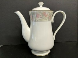 "Gorham Wingate White China w/Floral Design 24k Gold Banded 9"" Tall Coffee Pot  - $79.48"