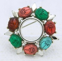 VTG Gold Tone Multi Color Plastic Cabochon Scarab Brooch Pin Green Coral Red - $19.80