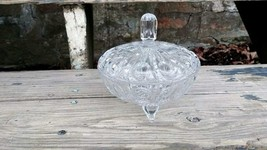 Vintage Cut Patterned Clear Crystal 3 Toed Candy Box Dish with Lid - $32.99