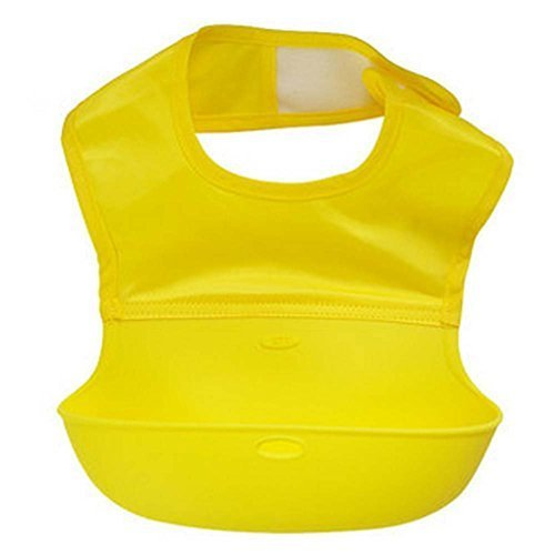3D Yellow Folding Silica Waterproof Pocket Saliva Meals Baby Bibs