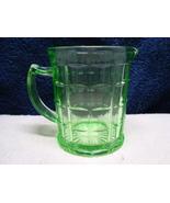 Hazel-Atlas Glass block optic vaseline glass creamer. - $15.00