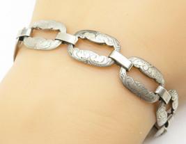 925 Silver - Vintage Antique Floral Vine Etched Cutout Chain Bracelet - ... - $64.23