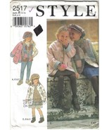 Style Pattern 2517 Girls' Jackets, Vests and Hat Sizes 4 - 10 Uncut - $6.99
