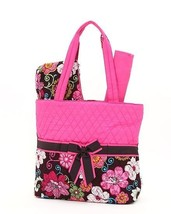 Belvah quilted floral print monogrammable 3pc diaper bag QHF1103L(BRFS) ... - $25.00