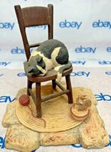 "Lowell Davis ""Catnapping Too? Figurine  1983 Schmid Cat Mice Chair Bowl 225247 - $212.83"