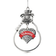 Inspired Silver Red Abuela Pave Heart Snowman Holiday Ornament - $14.69