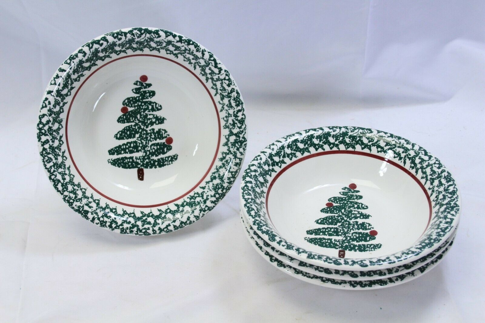 "Furio Xmas Tree Soup Bowls 8.125"" Lot of 4 Made in Italy"