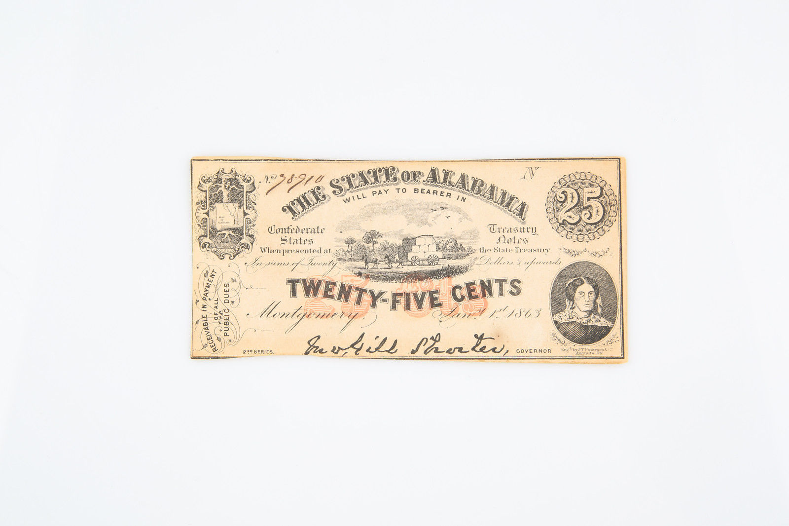1863 State of Alabama $0.25 Twenty-Five Cents confederate Fractional Currency - $74.25