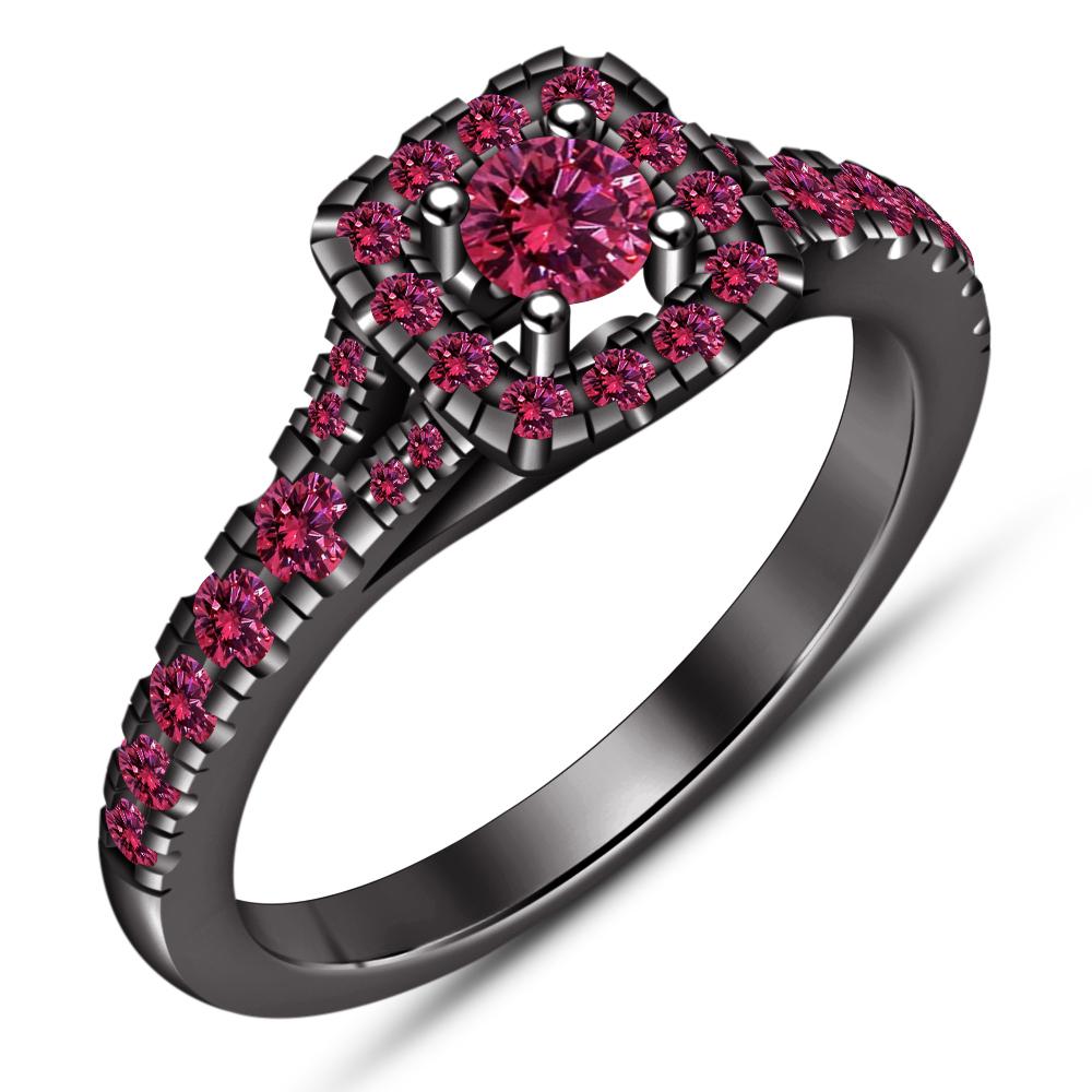 Round Pink Sapphire 2 Piece Engagement Wedding Ring Set 14K Black Gold Finish