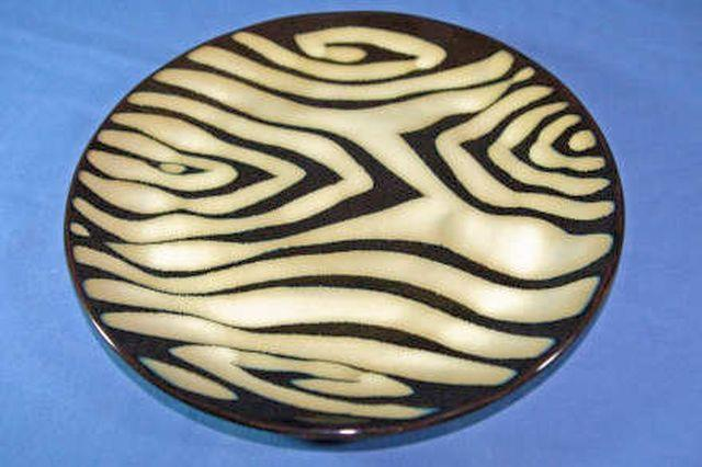 Primary image for Home Kenya Salad Plate Zebra Stripe Reactive Glaze 8 1/4""