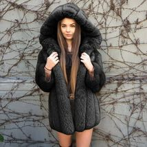 Women Luxurious Hooded Fur Coat  Fuzzy Jacket Warm Thick Faux Fur image 9