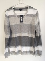 NWT Women Tommy Hilfiger Classic V-Neck Striped Sweater L 100% Cotton Si... - $37.39