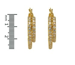 Pave Clear Glitzy Cubic Zirconia Gep 28MM Double Hoop Earrings 5MM Wide - $24.74