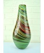 "16"" Vintage Heavy American Modernist Multi Colored Aventurine Art Glass Vase  - $280.15"