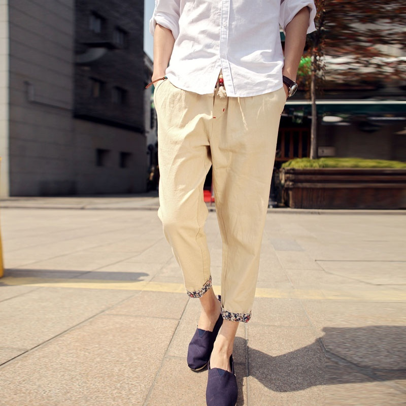 Men Casual Solid Color Nine Minutes Pants Thin Loose Pants image 5