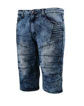 Men's Distressed Denim Faded Wash Slim Fit Moto Quilt Skinny Jean Shorts image 7
