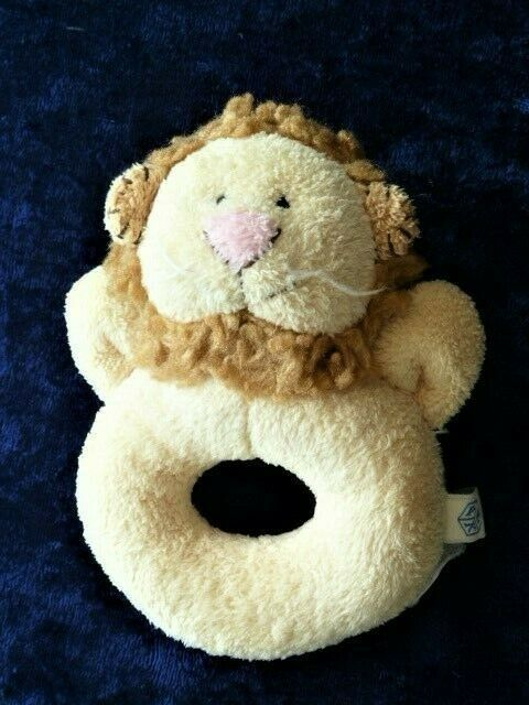 Primary image for Pottery Barn Kids Stuffed Plush Lion Baby Ring Circle Rattle Chamois Critter Toy