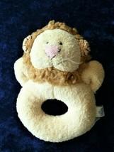 Pottery Barn Kids Stuffed Plush Lion Baby Ring Circle Rattle Chamois Critter Toy - $24.74