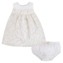 Mayoral Baby Girl 0M-12M Ivory Metallic Gold Jacquard A-line Social Dress