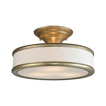 Elk Lighting Clarkton 3 Light Semi Flush Mount in Aged Silver - $220.50