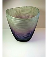Croscill Modern Acrylic Trash Wastebasket Purple Frosted Carved Lucite - $84.15